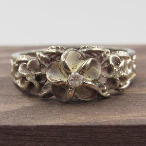 Size 9.75 Sterling Silver Rustic Floral CZ Band